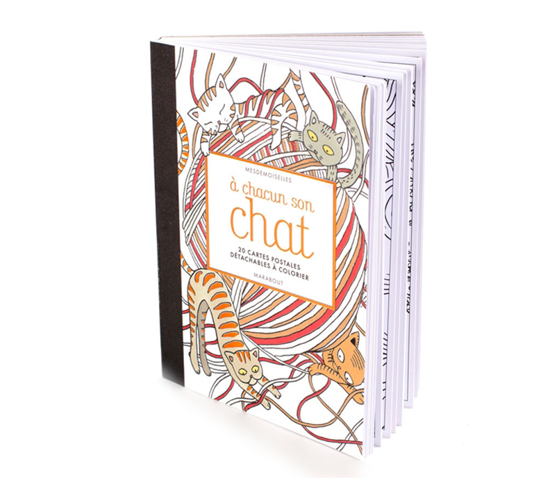 Chats à colorier, black and white cats, illustration Mesdemoiselles Aurélie Castex et Claire Laude