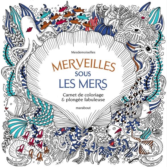 Under the sea black and white drawing, livre à colorier Merveille sous les Mers, dessins Aurélie Castex